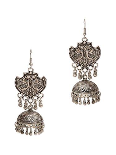 Watch Me German Silver Jhumka Earring For Women