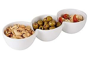 3scomparti snack piatto piatto da portata in porcellana bianca da tavolo Appetizer