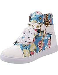 Qiusa - Zapatos de Lona para Mujer, diseño de Calavera, Floral Blue, 4