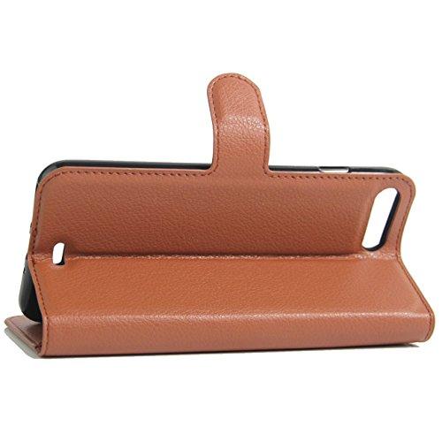 iPhone 7 Plus Hülle, HualuBro [Standfunktion] [All Around Schutz] Premium PU Leder Wallet Tasche Schutzhülle Case Flip Cover mit Karten Slot für Apple iPhone 7 Plus Smartphone (Violett) Braun