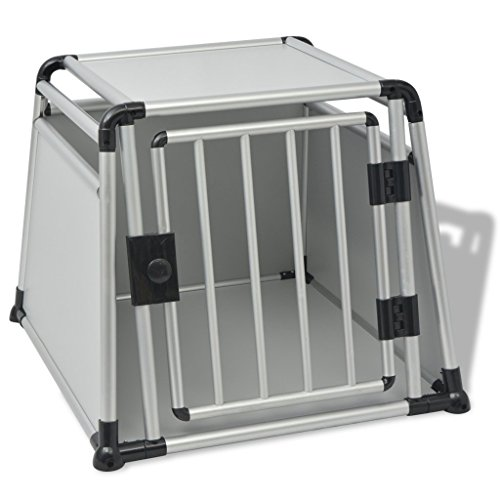 vidaXL Hundetransportbox Transportbox Hund Auto Käfig Reise Hundebox Aluminium L