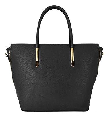 CRAZYCHIC - Grand sac à main cabas imitation cuir strié Saffiano avec zip doré et soufflet - Sac femme grande taille - Sac fourre tout Shopper pour les cours - Avec bandoulière épaule