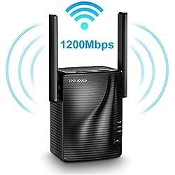 Amplificateur WiFi sans Fil - Répéteur WiFi AC1200 Double Bande 5G et 2.4G, WiFi Extender WIFI Booster avec Port Ethernet Gigabit, Facile à Installer avec Bouton WPS, Couvrir le Signal jusqu'à 200 ㎡