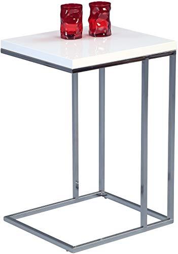 Beistelltisch Michi, Gestell Metall verchromt, Deckplatte Dekor weiß Hochglanz, 22 mm