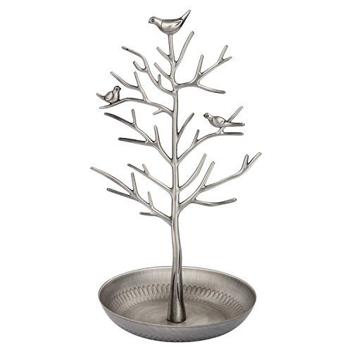 Discoball - Jewellery Display/Stand/Holder - New Antique Silver Bronze Birds Tree Earring Necklace Bracelets Jewelry Holders Hanging Organiser Rack Tower(Ancient Sliver) by discoball
