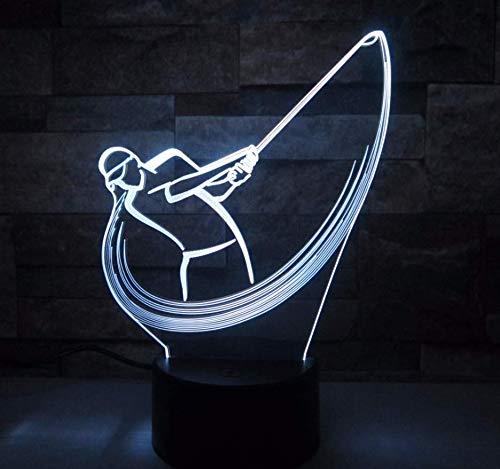 3D Illusion Nachtlampe, LED Nachtlicht,7 Farben ändern Touch Switch Schreibtisch Lampen ,Kinder Geburtstagsgeschenk und Party Dekoration(Golf Spielen)