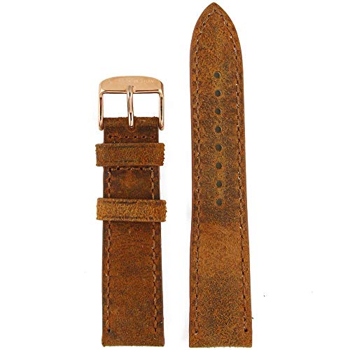 Kapten & Son Uhrenarmband Vintage Leather Braun Wechselarmband Uhrenband rosévergoldeter Edelstahl 20 mm