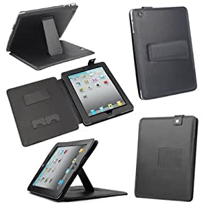 DIGIFLEX Stylish Black Soft Faux Leather Cover Stand Case for Apple iPad 2 (All Models)