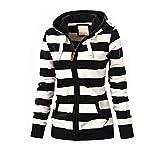 Womens Hoodies Toamen Clothes Sale Plus Size Stripe Zipper Casual Slim Tops Hooded Sweatshirt Coat Jacket Jumper(Black, 20)