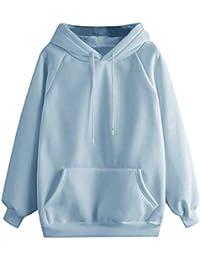 Sudaderas Adolescentes Chicas, Fossen Sudaderas Mujer con Capucha Tallas Grandes Color Sólido - Estampado Camiseta Blusa Tops de Manga Larga Clásico
