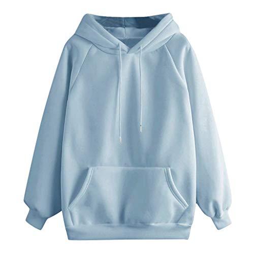 YEBIRAL Damen Herbst Winter Hoodie Frauen Sweatshirt Pullover Oberteile Langarmshirt Kapuzenpullover Mode-Bequem-Casual Pulli mit Kordel und Taschen (Blau, S) -