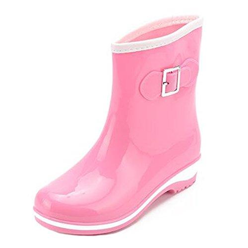 hibote femmes Bottes de pluie Femme chaude Eau Lady Slip On Shoes Galoches antidérapants en caoutchouc Violet