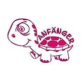Anfänger Turtle Schildkröte Aufkleber Autotattoo Autoaufkleber Ausführung links (PINK)