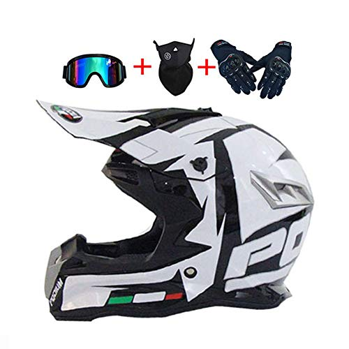 LEENY Casco da Motocross Ragazzo Ragazza Caschi da Cross con Occhiali/Maschera/Guanti, Casco da Moto off-Road Enduro Downhill Casco ATV MTB BMX Quad Casco da Motociclista, Bianco/Nero,XL