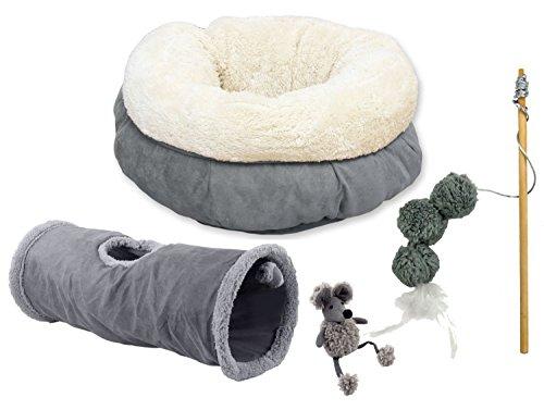 PETGARD XXL Katzen-Kuschel-Starterset - Katzentunnel, Bett, Spielangel und Plüschmaus - grau