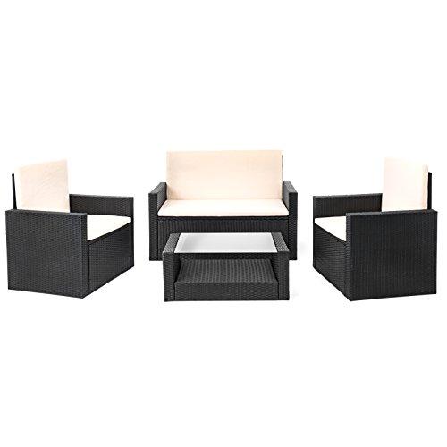 Estexo Polyrattan Sitzgruppe Wittigo, Garten Lounge Aus Rattan, Set,  Gartengarnitur, Gartenmöbel (Schwarz)