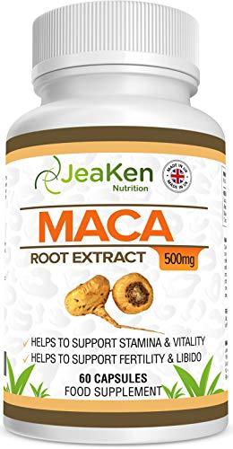 EXTRACTO DE RAÍZ DE MACA Por JeaKen - 60 x 500 mg cápsulas - Aumenta los niveles de energía y la vitalidad - Alto en vitaminas y minerales - Para vegetarianos y veganos - Hecho en el Reino Unido