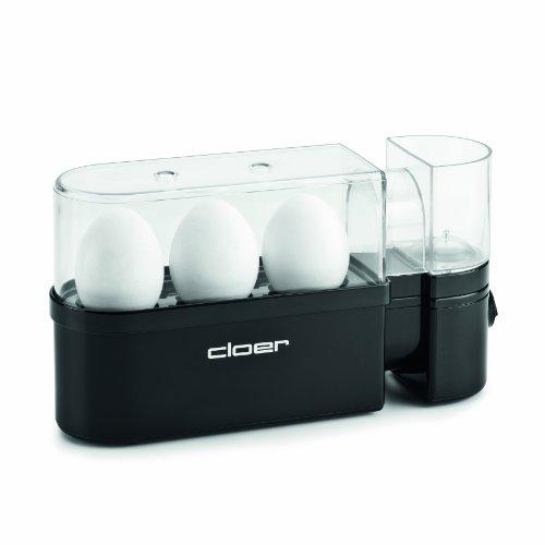 Cloer 6020 Eierkocher mit Servierfunktion / 300 W / 3 Eier / antihaftbeschichtete Heizplatte / im Deckel integrierter Messbecher und Eierpiekser / akustische Fertigmeldung