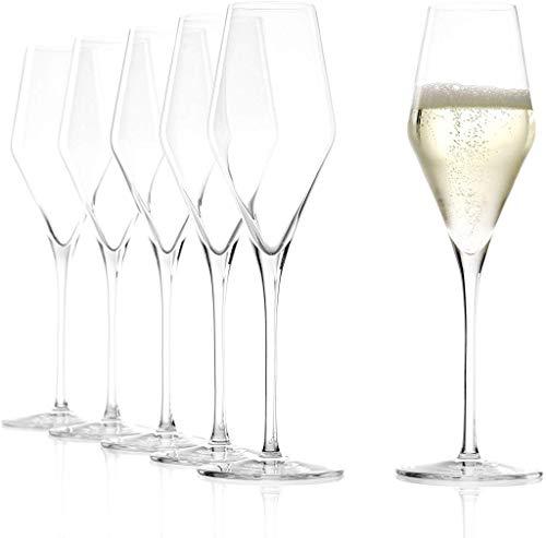 Stölzle Lausitz Champagnergläser Quatrophil 292ml, 6er Set, wie mundgeblasen, Premiumqualität, spülmaschinenfest