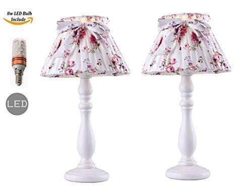 Pack von 2 Stück Weiß Tischlampe und Sex Kleid Blume Tuch Lampenschirm (Led-Lampe enthalten)