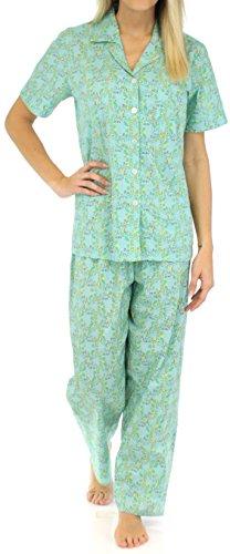 Sleepyheads Ensemble pyjama femme à manches courtes coton vêtement de nuit Oiseau Treillis Bleu