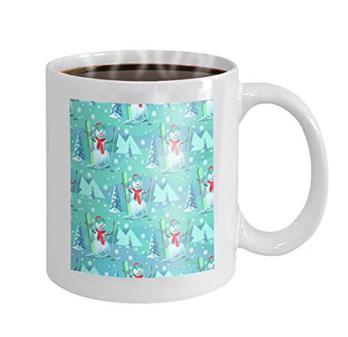 11 oz Coffee Mug endless pattern christmas theme snowman ski outfit snow covered trees mountains Character Novelty Ceramic Gifts Tea Cup (Reise Mädchen Ski-outfit)