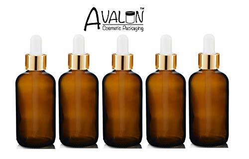 Avalon Kosmetik-Verpackung - 5 x bernsteinfarbene Glas-Tropfflasche mit Premium-Pipette (Goldkragen und weiße Silikon-Birne) für Schönheit, Aromatherapie, Männchenpflege, Bartöl, Reisen usw.