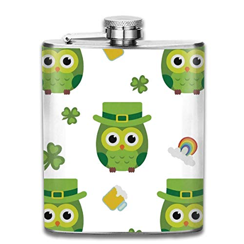 Flask for Sale Stainless Steel Flasks 7 Oz St Patrick's Day Clovers and Cute Owls with Green Hat Polyester Printing Outdoor House Yard Flag (1) Whiskey Flask Hip Flask Leak Proof Wine Men Women (St Day Patricks Sale)