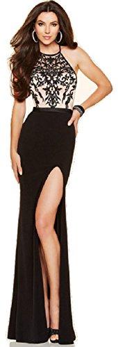 Neue Damen Schwarz & Nude bestickt Mieder Abendkleid langes Kleid Cruise Ball Cocktail tragen Kleid Größe L UK 12 (Crossover-mieder-kleid)