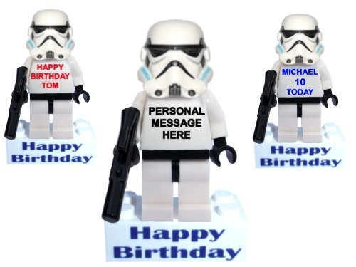 Image of PERSONALISED Clone trooper / Stormtrooper minifigure, boy man mini action figure on HAPPY BIRTHDAY message brick. Great gift alternative to a birthday card or ideal as a cake topper. Custom made from new Minifigure parts. PERSONALISED WITH A MESSAGE OF YOUR CHOICE. A super collectible unique gift