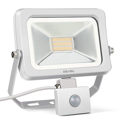 Albrillo Ultraslim 30W LED Fluter mit Bewegungsmelder 2250 Lumen Super helle LED Scheinwerfer mit 180° Sensor, 3000k warmweiß mit weiß Aluminium und Wasserdicht