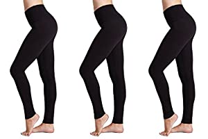 Womens Leggings (3 Pack) FM® Ladies Sports or Casual, Black Leggings