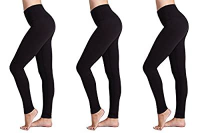 Womens Leggings (3 Pack) FM® Ladies Sports or Casual, Black Leggings