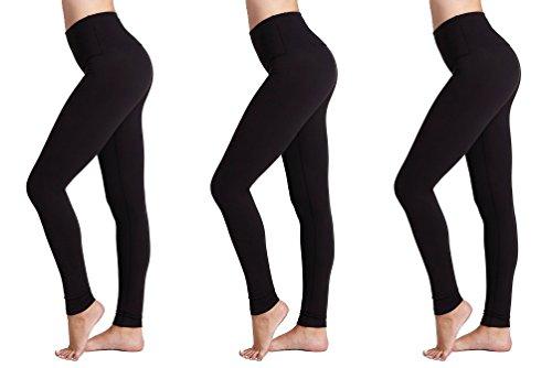 Leggings da Donna (Pacco da 3) FM® Leggings Neri Termici da Donna, Sportivi o Casual