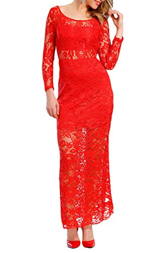 INFINIE PASSION - Dentelle - Robe longue rouge Rouge