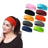 Meowoo Headbands Stirnband Sport Unisex 10Stk, Geeignet zum Laufen, Basketball Spielen, Tennis Spielen, Radfahren