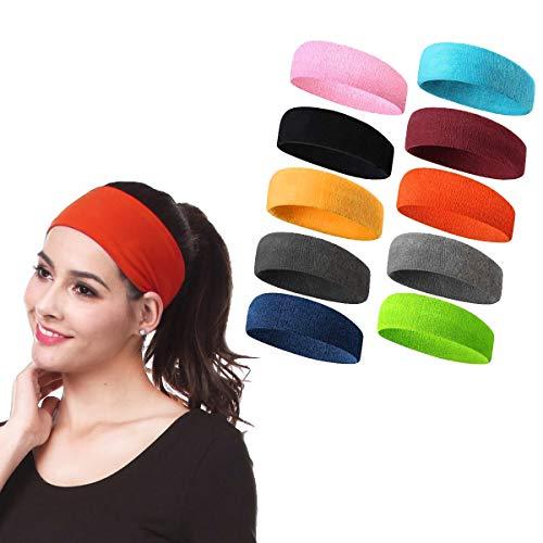Meowoo Headbands Stirnband Sport Unisex, Geeignet zum Laufen, Basketball Spielen, Tennis Spielen, Radfahren (10stk) -