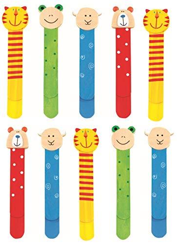 Set 10 Bunte Lesezeichen aus Holz für Kinder, bunt, mit niedlichen Tiermotiven und Lineal 9cm