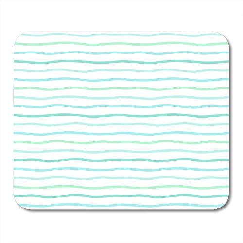 AOHOT Mauspads Mint Green Waves Wavy Stripes Lines Bars Uneven Doodle Streaks Thin Marine Striped Abstract Mouse pad 9.5