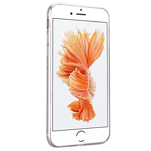 HB-Int für iPhone 7 Plus Weich Silikon Back Hülle Bling Pailletten Transparent Durchsichtige Dünn Schutzhülle Rot Flexible Case Glatt Schale Full Body Bumper Shell Handytasche Transparent