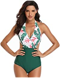 14f50e1dcf1 Trikini Femme Une Pièce Imprimé Floraux Creux sur Côtés Maillot de Bain  Ensemble Sexy à Licou