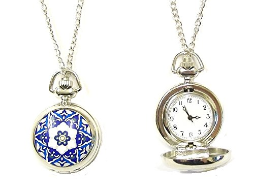 Ladies Steampunk Vintage Pocket Watch Blue Star Gift Fancy Dress Necklace Pendant Costume Jewellery for Women