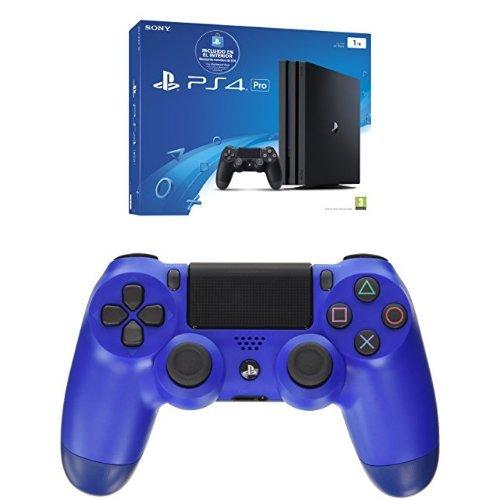 PlayStation 4 Pro (PS4) - Consola de 1 TB (incluye recarga de monedero de 10 €) + Sony - Controlador Dualshock 4 V2, Color Wave Blue (PS4)