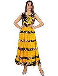 d9b3cfaf0bd Rangun Cotton Women s Cotton Jaipuri Printed Maxi Long Dress (Free Size  Yellow Color)