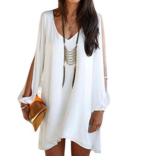 Elecenty Damen Solide Sommerkleid Partykleid Irregulär Knielang V-Ausschnitt Kleider Chiffon Frauen Mode Lose Kleid Minikleid Kleidung Asymmetrisch Abendkleider (S, Weiß)