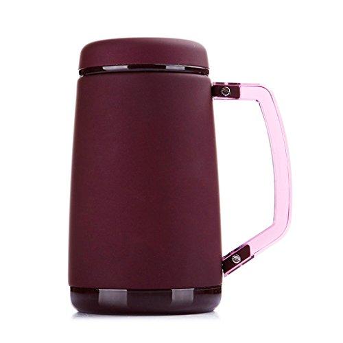 Tasse créative vide en acier inoxydable tasse de bureau d'affaires avec tasse de poignée hommes et femmes tasse de thé (Color : Retro red)