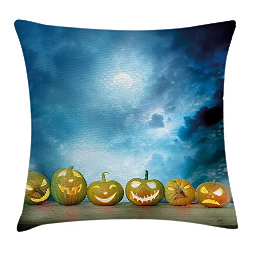 ZMYGH Halloween Throw Pillow Cushion Cover, Spooky Halloween Pumpkins on Wood Table Dramatic Night Sky Print, Decorative Square Accent Pillow Case, 18 X 18 inches, Dark Blue Light Blue Yellow (Halloween Cupcakes Nyc)