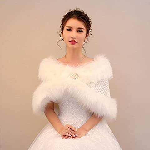 Woman'S Fur Shawl Wedding Shawl Wrap The Cape Long Plush White Cloak Flowers Sequins Warm Scarf For The