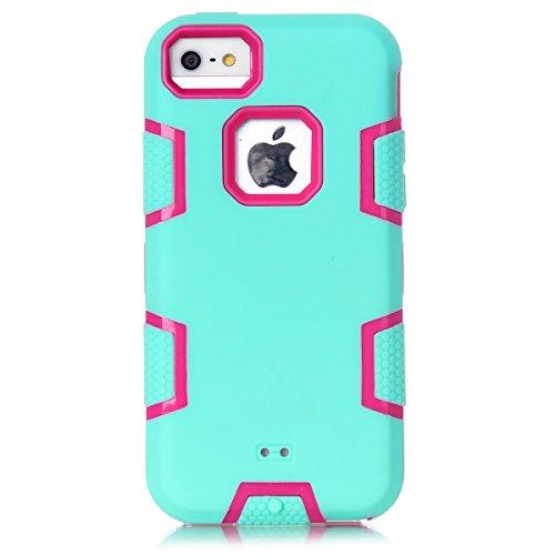 iPhone 5c Hülle, FindaGift 3 in 1 Hybride Handycover Hartschale Cover Roboter Guard Schutzhülle Innere PC Case Weich Silikon Back Rüstung Ganzkörper-Schutz [Bruchsicher] [Anti-Rutsch] Handytasche für  Hellgrün + Pink