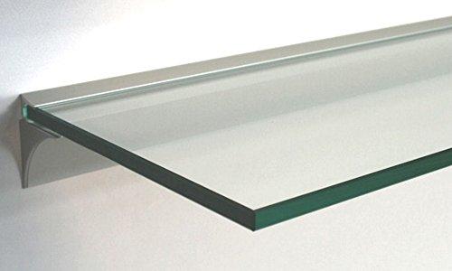 Glasregal 50x30 cm /8mm Klarglas Wandprofil LINO8 Alu silber / Glasablage